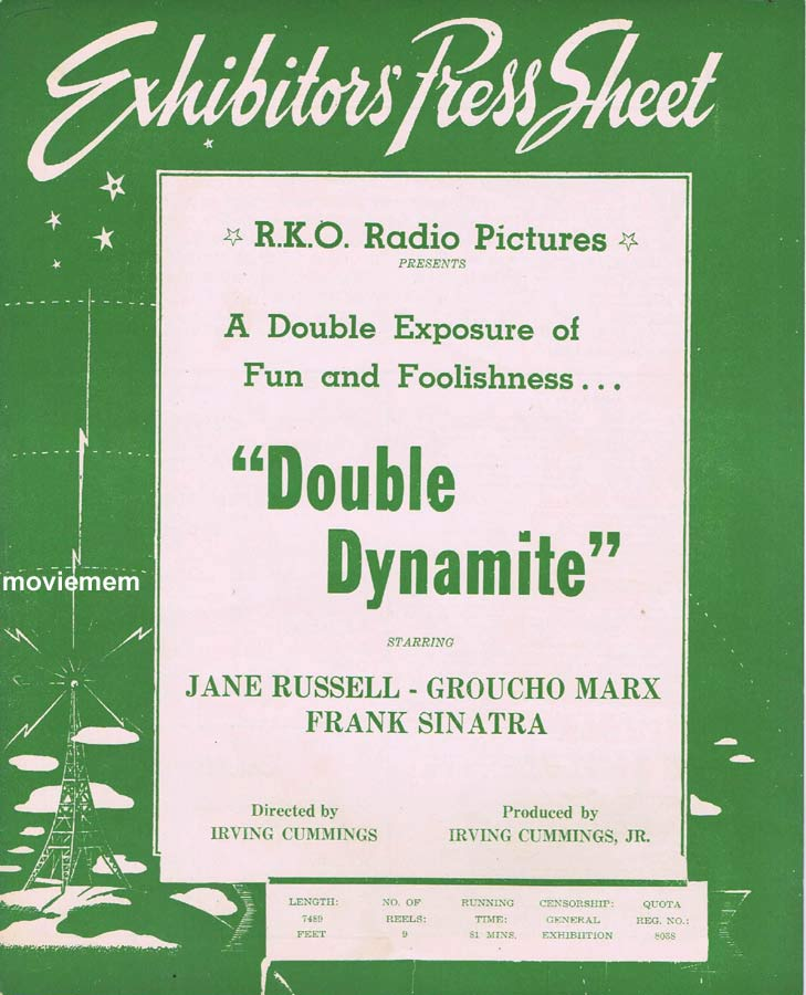 DOUBLE DYNAMITE Rare RKO AUSTRALIAN Movie Press Sheet