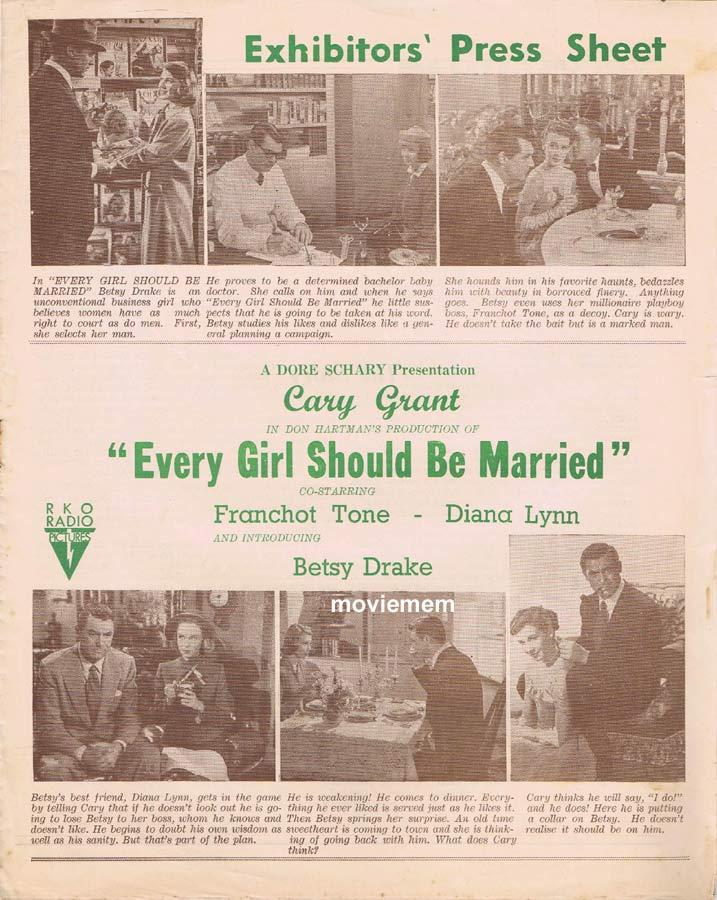 EVERY GIRL SHOULD BE MARRIED Rare RKO AUSTRALIAN Movie Press Sheet Cary Grant