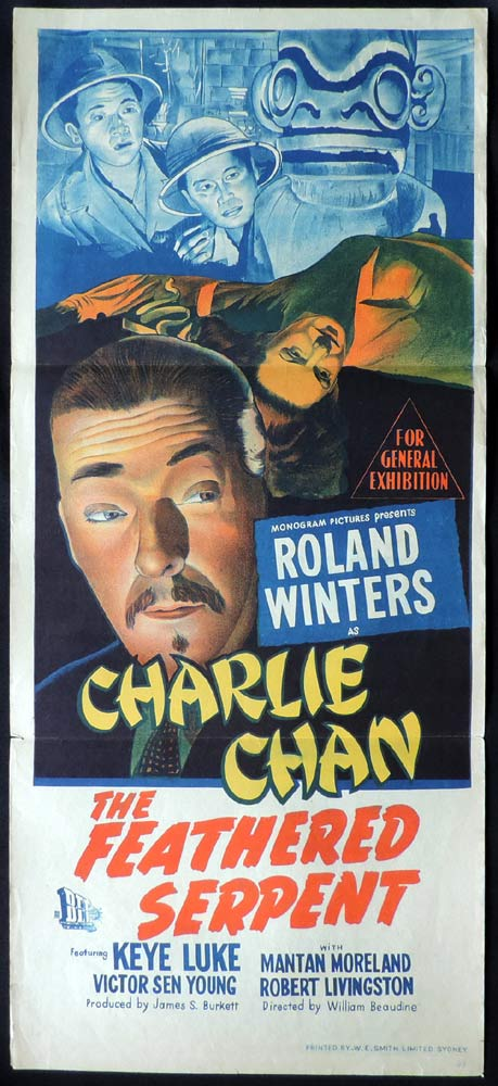 CHARLIE CHAN THE FEATHERED SERPENT Original Daybill Movie poster Roland Winters