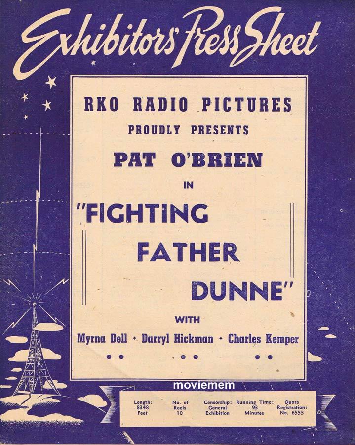 FIGHTING FATHER DUNNE Rare RKO AUSTRALIAN Movie Press Sheet Pat O'Brien