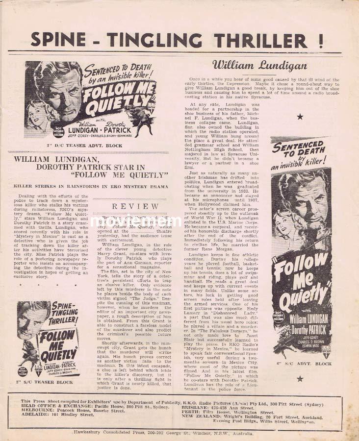 FOLLOW ME QUIETLY Rare RKO AUSTRALIAN Movie Press Sheet Dorothy Patrick