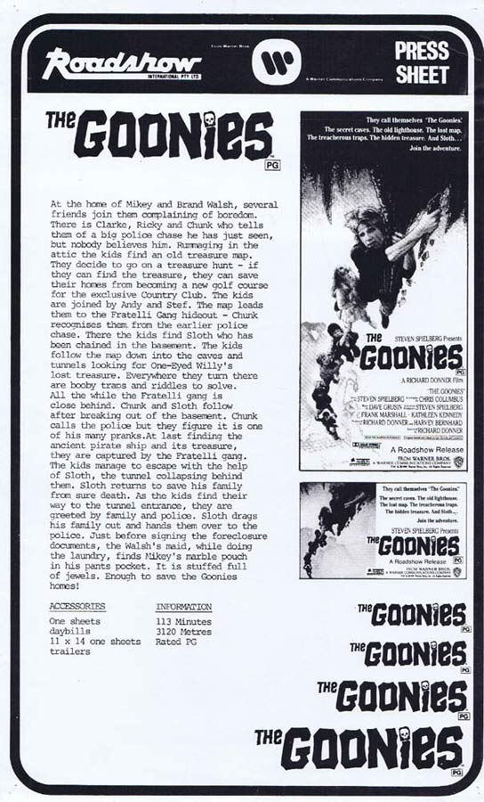 THE GOONIES Rare AUSTRALIAN Movie Press Sheet Sean Astin
