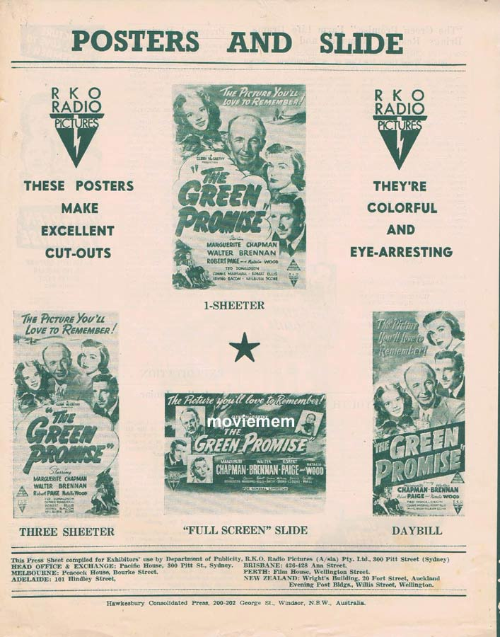 THE GREEN PROMISE Rare RKO AUSTRALIAN Movie Press Sheet Walter Brennan