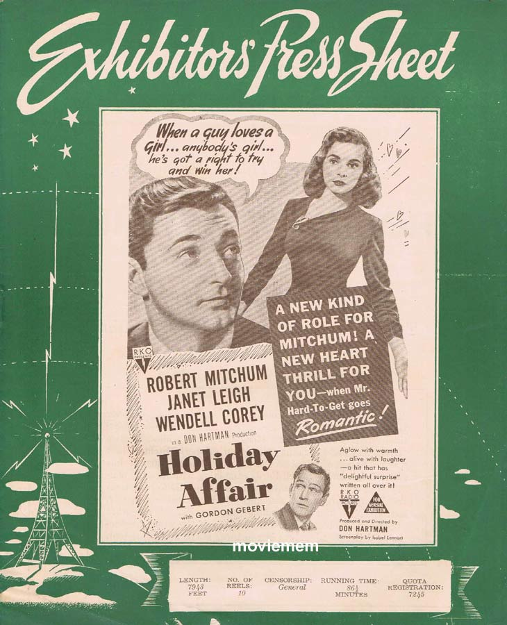 HOLIDAY AFFAIR Rare RKO AUSTRALIAN Movie Press Sheet Janet Leigh Robert Mitchum