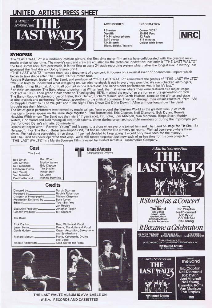 THE LAST WALTZ Rare AUSTRALIAN Movie Press Sheet Martin Scorsese Eric Clapton