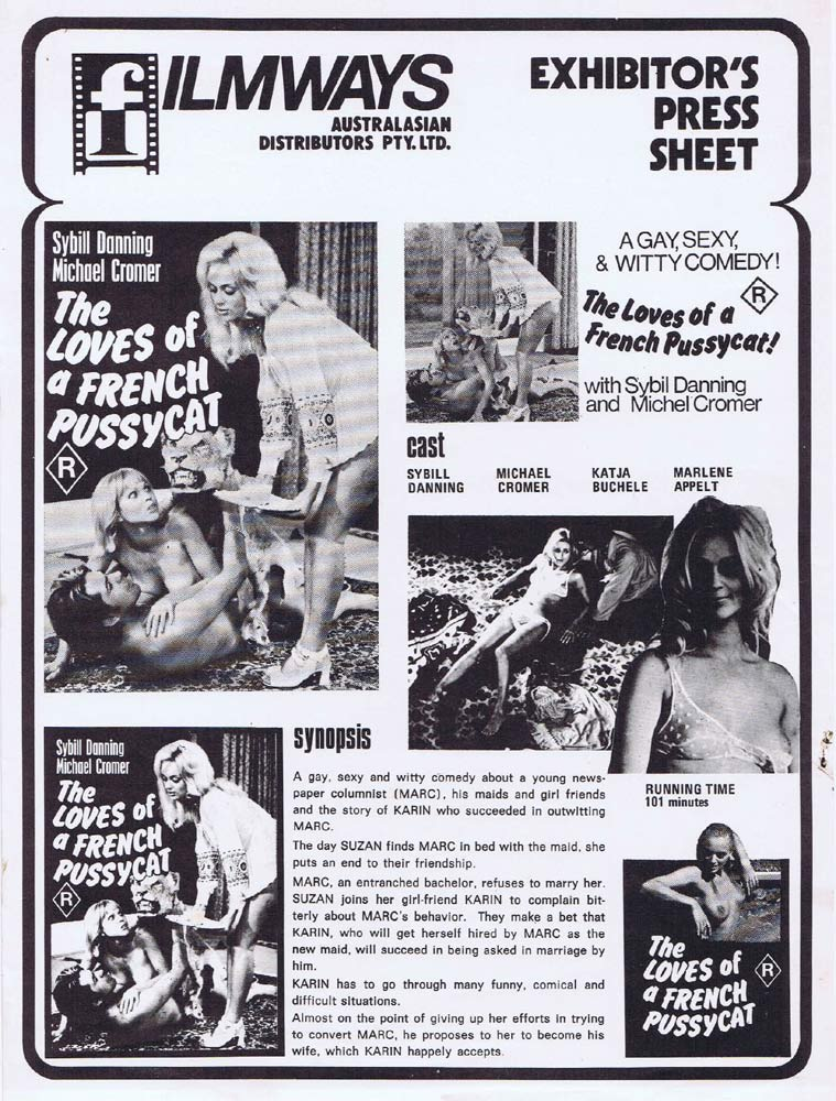 THE LOVES OF A FRENCH PUSSYCAT Rare AUSTRALIAN Movie Press Sheet Sybill Danning