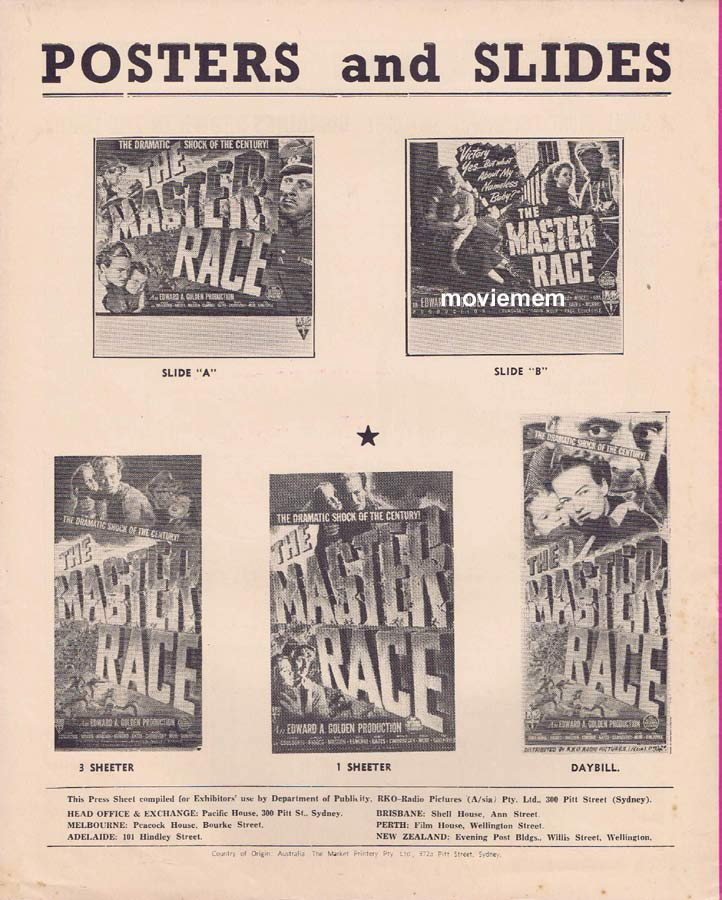 THE MASTER RACE Rare RKO AUSTRALIAN Movie Press Sheet 1944