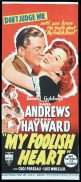 MY FOOLISH HEART Original Daybill Movie poster RKO Susan Hayward