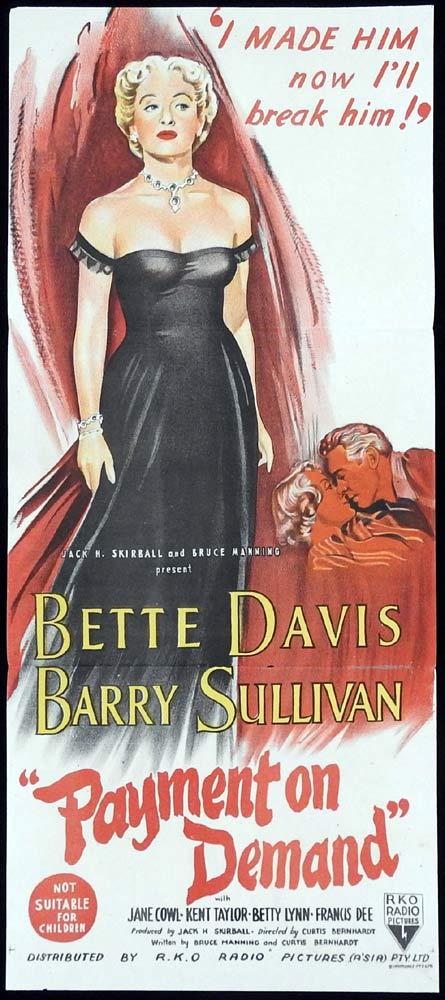 PAYMENT ON DEMAND Original Daybill Movie Poster Bette Davis Barry Sullivan