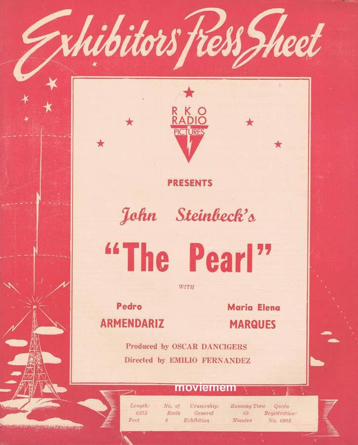THE PEARL Rare RKO AUSTRALIAN Movie Press Sheet Pedro Armendáriz