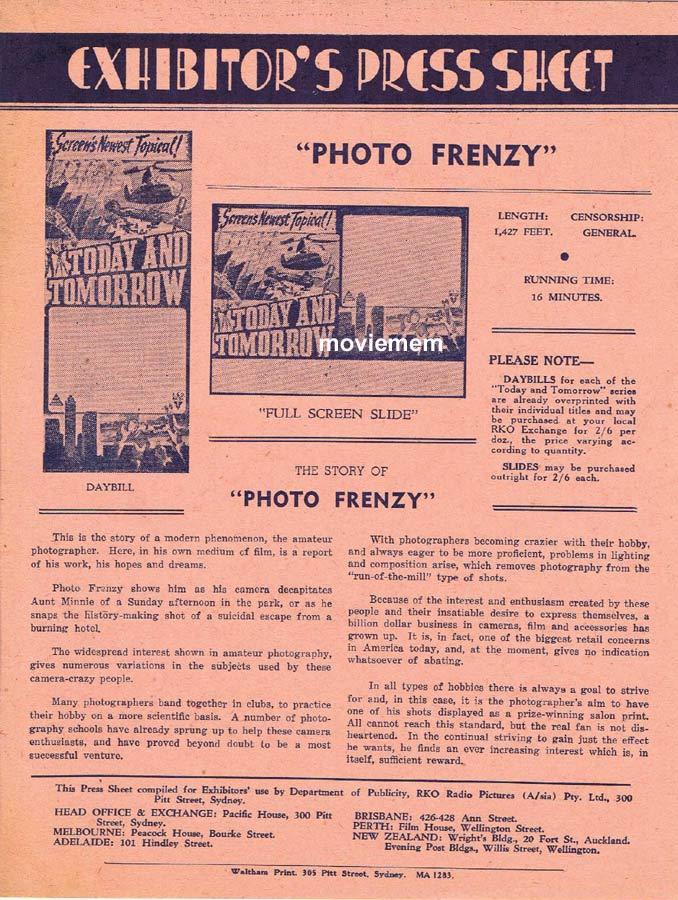 PHOTO FRENZY Rare RKO AUSTRALIAN Movie Press Sheet Newsreel
