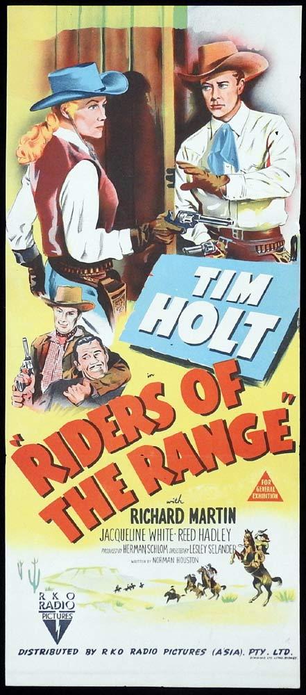 RIDERS OF THE RANGE Original Daybill Movie Poster RKO Tim Holt