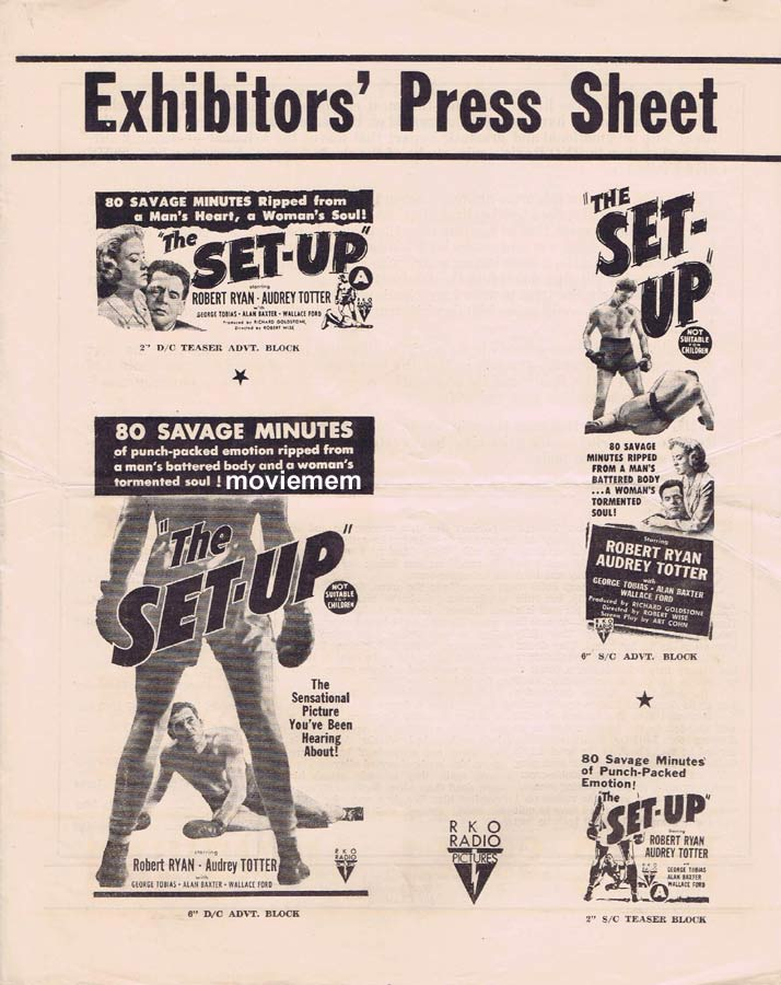 THE SET-UP Rare RKO AUSTRALIAN Movie Press Sheet Robert Ryan Audrey Totter