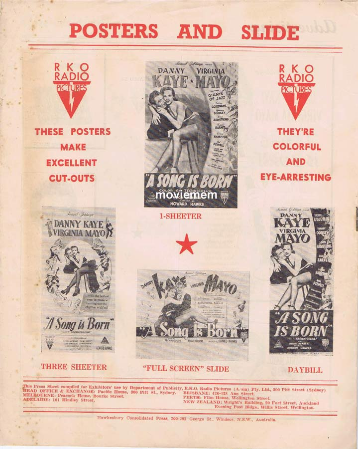 A SONG IS BORN Rare RKO AUSTRALIAN Movie Press Sheet Danny Kaye Virginia Mayo