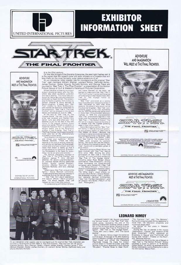 STAR TREK V THE FINAL FRONTIER Rare AUSTRALIAN Movie Press Sheet