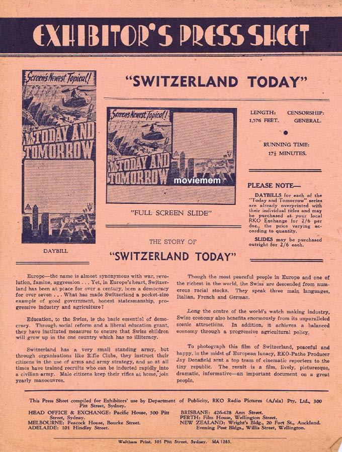 SWITZERLAND TODAY Rare RKO AUSTRALIAN Movie Press Sheet Newsreel