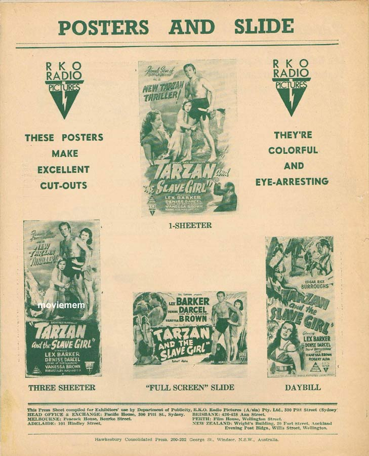 TARZAN AND THE SLAVE GIRL Rare RKO AUSTRALIAN Movie Press Sheet Lex Barker Vanessa Brown