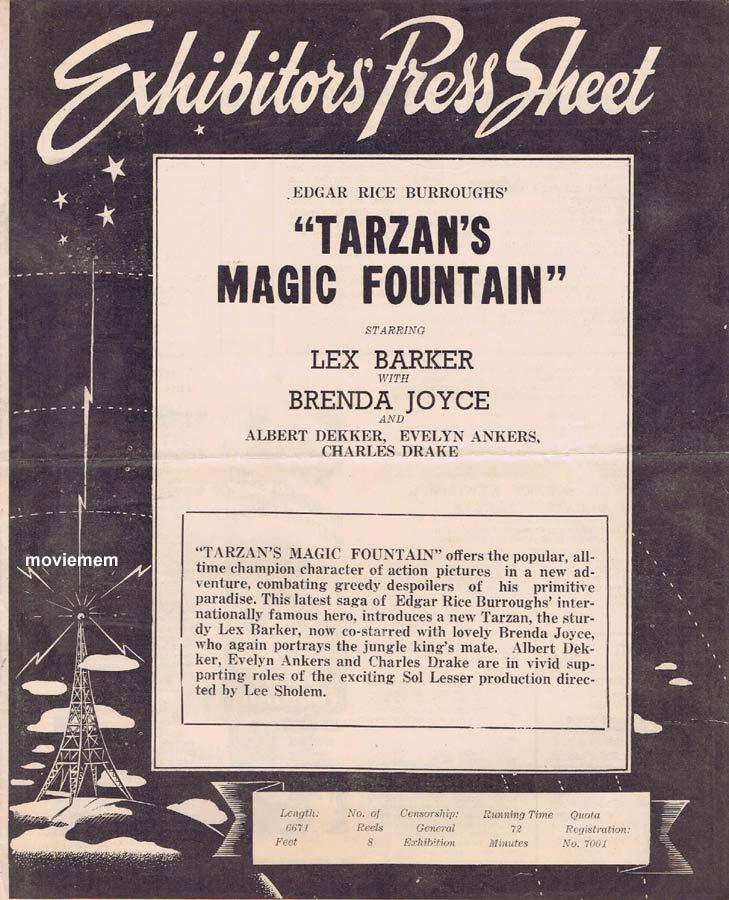 TARZAN'S MAGIC FOUNTAIN Rare RKO AUSTRALIAN Movie Press Sheet Lex Barker Brenda Joyce