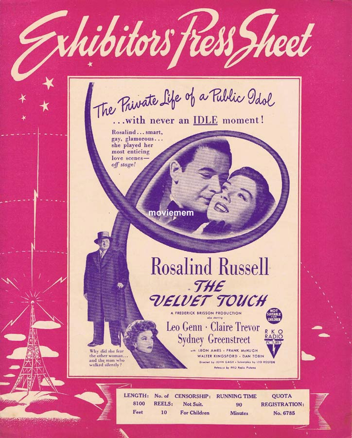 THE VELVET TOUCH Rare RKO AUSTRALIAN Movie Press Sheet Rosalind Russell Leon Ames