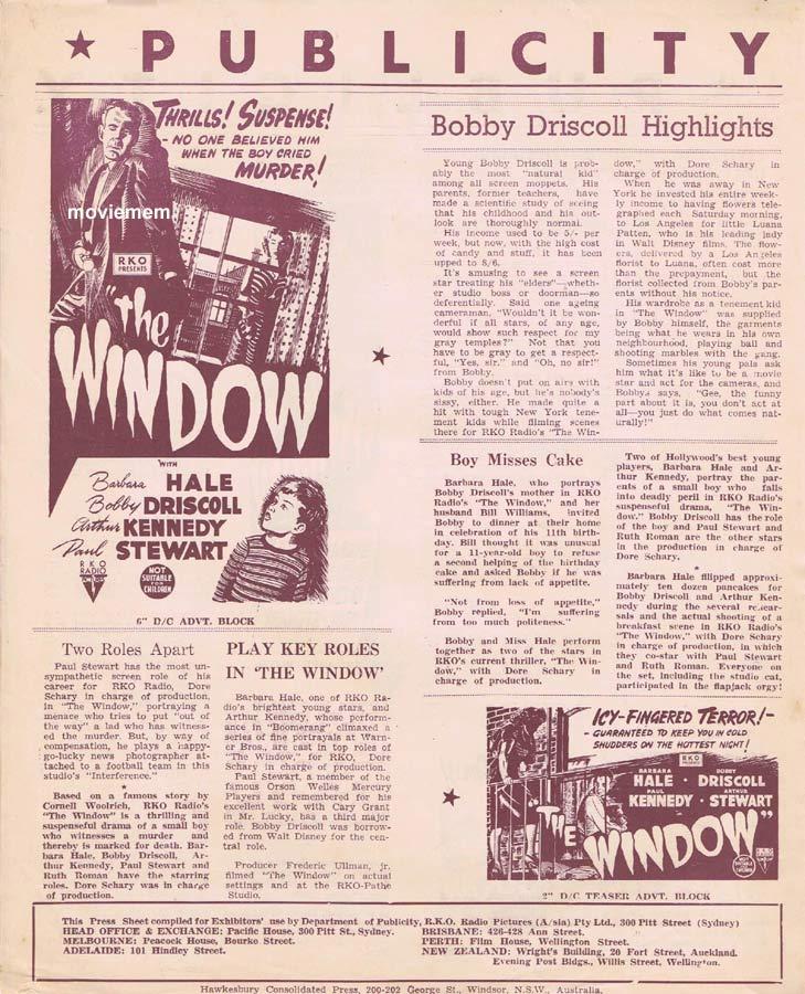 THE WINDOW Rare RKO AUSTRALIAN Movie Press Sheet Barbara Hale Arthur Kennedy
