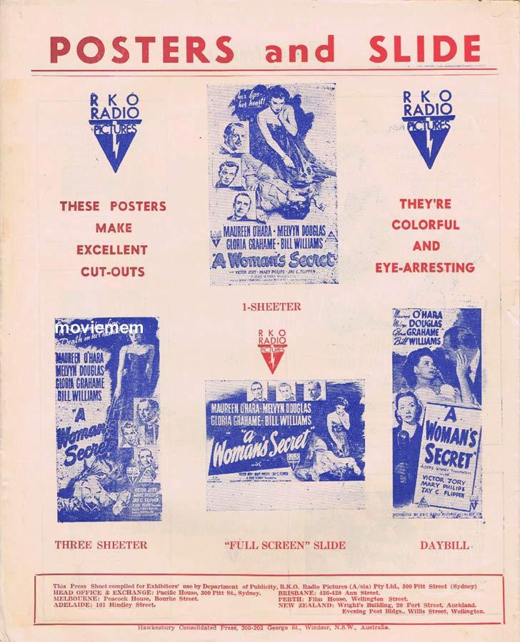 A WOMAN'S SECRET Rare RKO AUSTRALIAN Movie Press Sheet Maureen O'Hara Melvyn Douglas