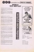 WORLD SEX REPORT Rare AUSTRALIAN Movie Press Sheet