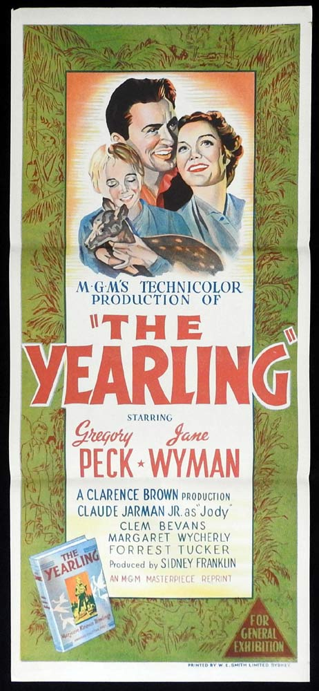 THE YEARLING Original 1956r Daybill Movie Poster Gregory Peck