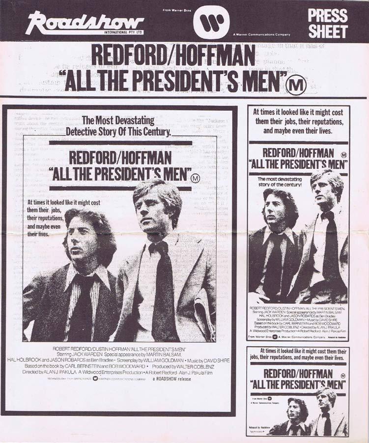 ALL THE PRESIDENTS MEN Rare AUSTRALIAN Movie Press Sheet Robert Redford Dustin Hoffman