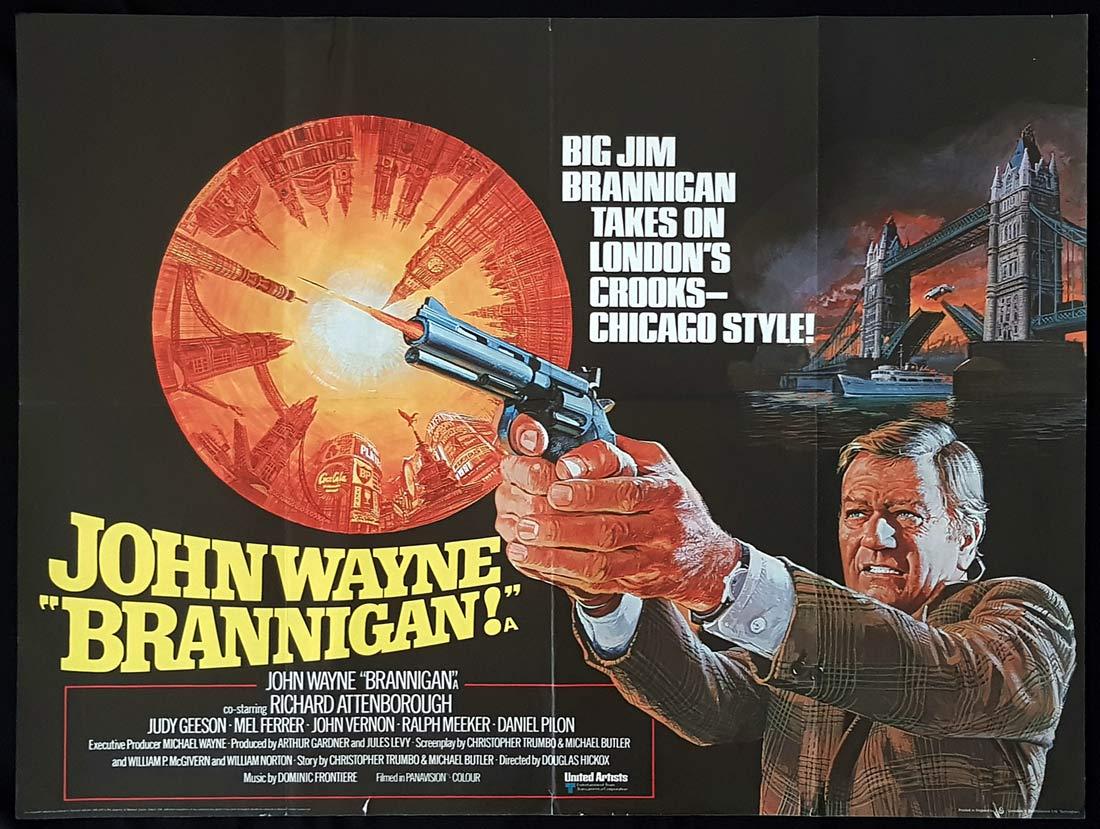 BRANNIGAN Original British Quad Movie Poster John Wayne Brian Bysouth Art