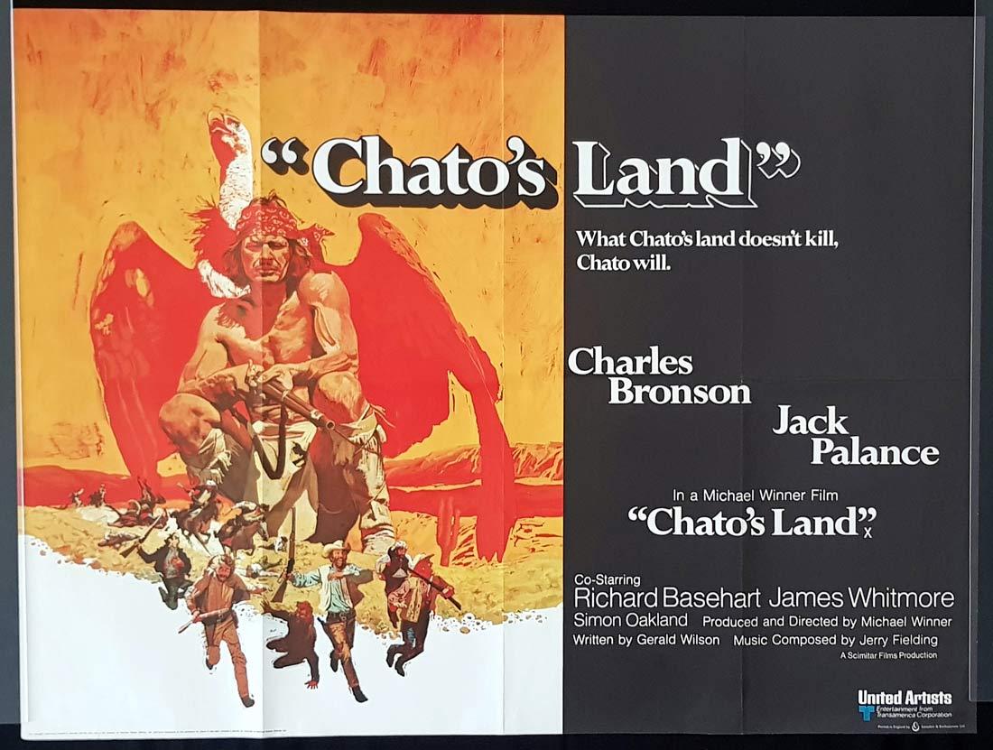 CHATO'S LAND Original British Quad Movie Poster Charles Bronson Jack Palance