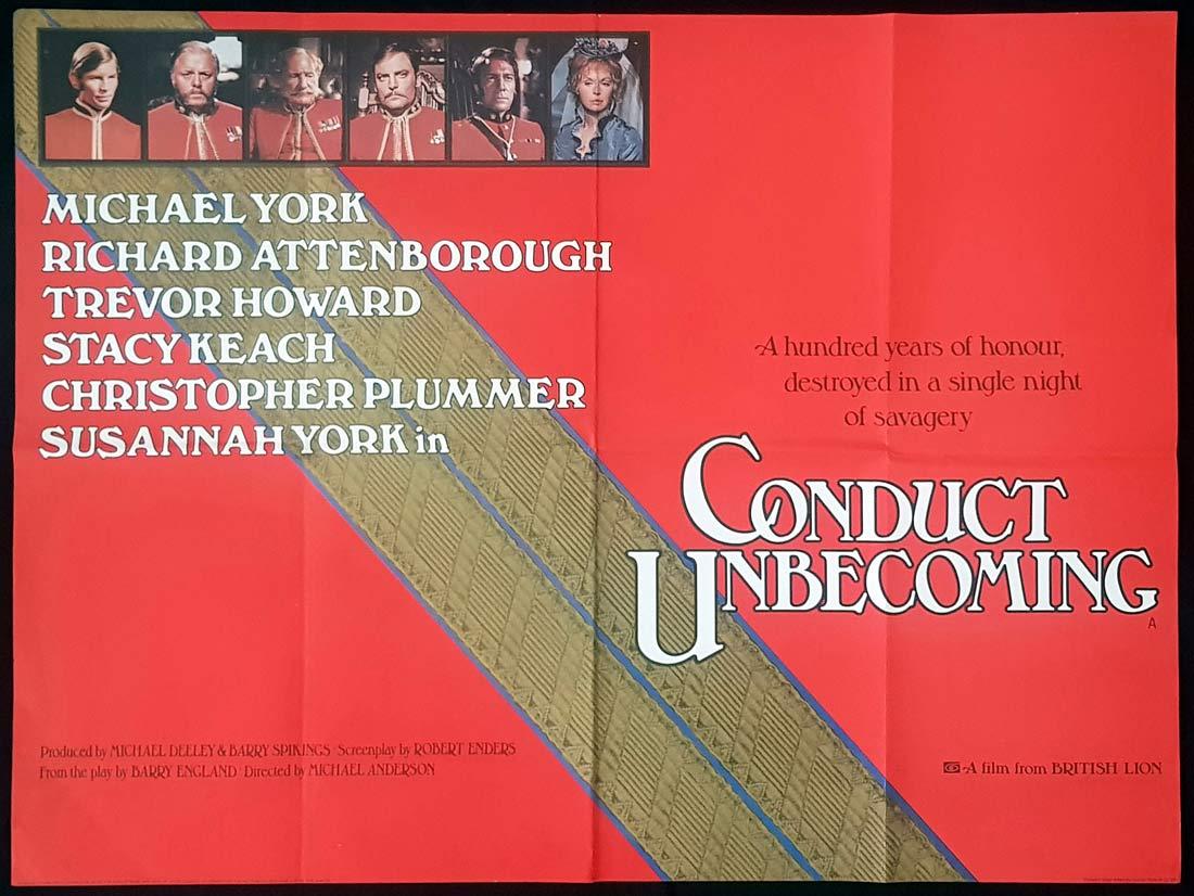 CONDUCT UNBECOMING Original British Quad Movie Poster Michael York