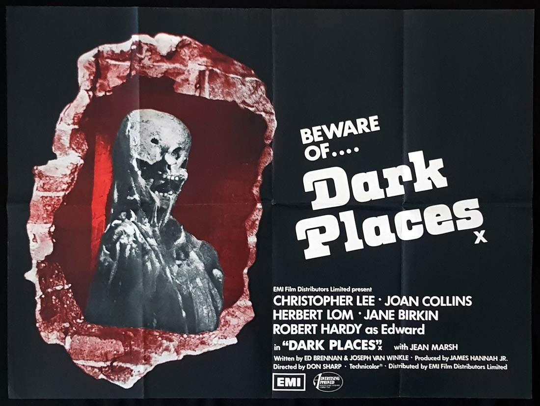 DARK PLACES Original British Quad Movie Poster Christopher Lee Joan Collins