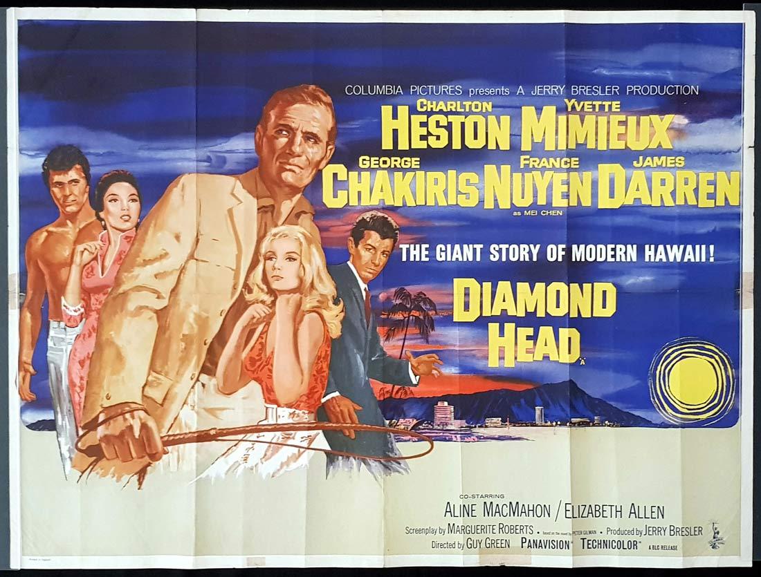 DIAMOND HEAD Original British Quad Movie Poster Charlton Heston Yvette Mimieux