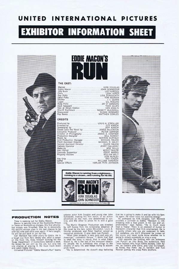EDDIE MACON'S RUN Rare AUSTRALIAN Movie Press Sheet Kirk Douglas John Schneider
