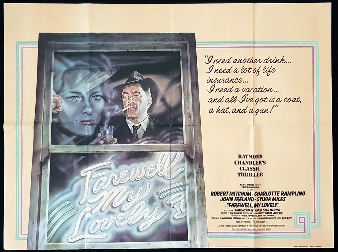 FAREWELL MY LOVELY Original British Quad Movie Poster Robert Mitchum