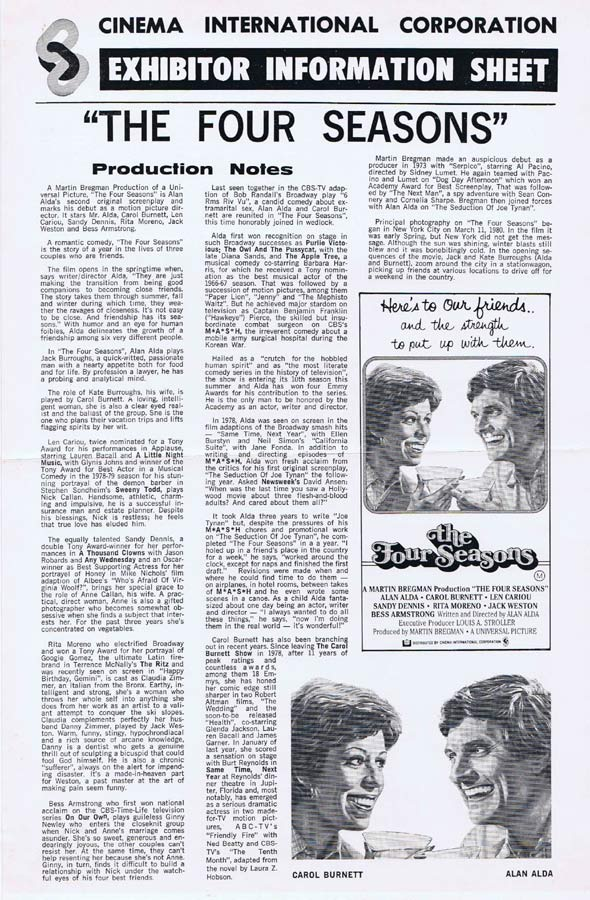 THE FOUR SEASONS Rare AUSTRALIAN Movie Press Sheet Alan Alda Carol Burnett