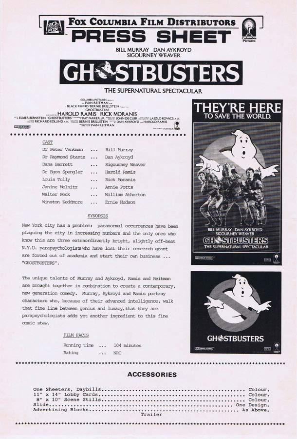 GHOSTBUSTERS Rare AUSTRALIAN Movie Press Sheet Bill Murray Dan Aykroyd