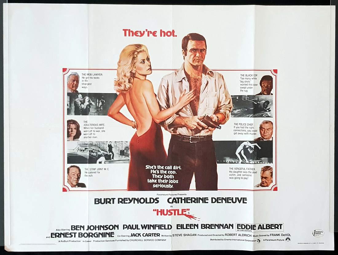 HUSTLE Original British Quad Movie Poster Burt Reynolds Catherine Deneuve