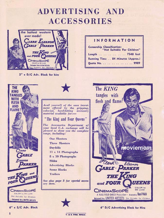 THE KING AND FOUR QUEENS Rare AUSTRALIAN Movie Press Sheet Clark Gable Eleanor Parker