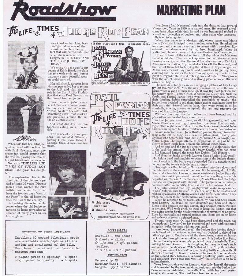 THE LIFE AND TIMES OF JUDGE ROY BEAN Rare AUSTRALIAN Movie Press Sheet Paul Newman