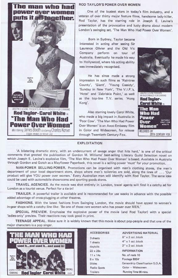 THE MAN WHO HAD POWER OVER WOMEN Rare AUSTRALIAN Movie Press Sheet Rod Taylor