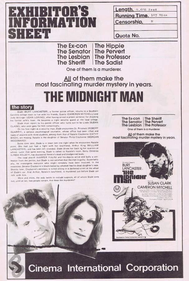 THE MIDNIGHT MAN Rare AUSTRALIAN Movie Press Sheet Burt Lancaster Susan Clark