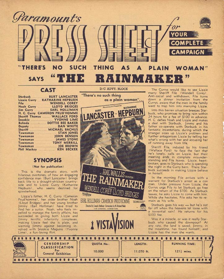 THE RAINMAKER Rare AUSTRALIAN Movie Press Sheet Burt Lancaster Katharine Hepburn