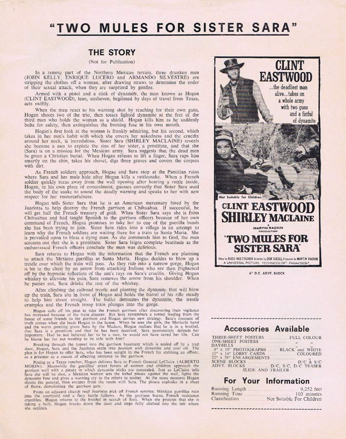 TWO MULES FOR SISTER SARA Rare AUSTRALIAN Movie Press Sheet Clint Eastwood Shirley MacLaine
