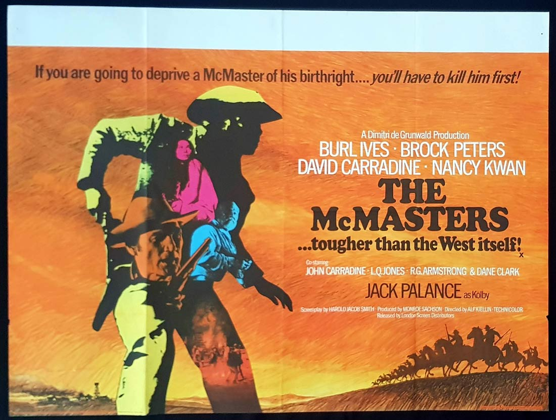 THE McMASTERS Original British Quad Movie Poster Burl Ives Jack Palance