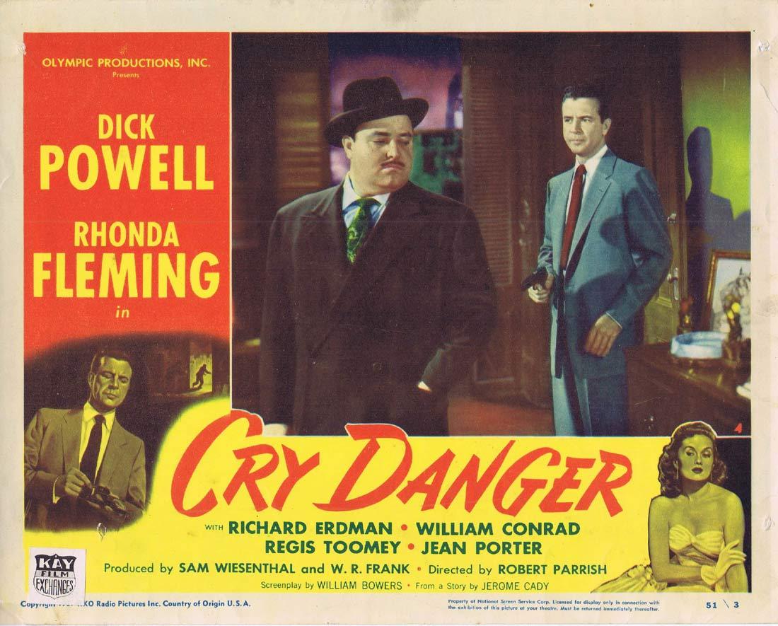 CRY DANGER Lobby card 4 1951 Dick Powell Rhonda Fleming RKO Film Noir