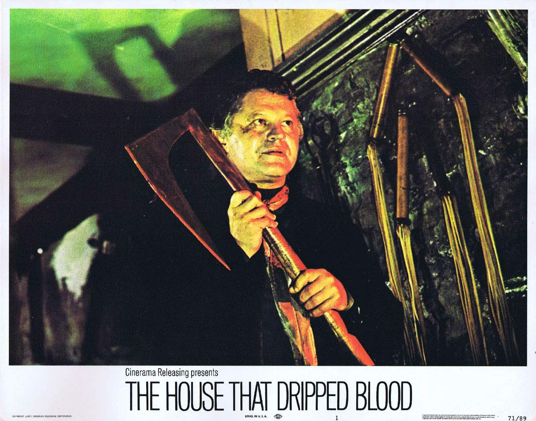 THE HOUSE THAT DRIPPED BLOOD Original Lobby card 1 Christopher Lee Peter Cushing