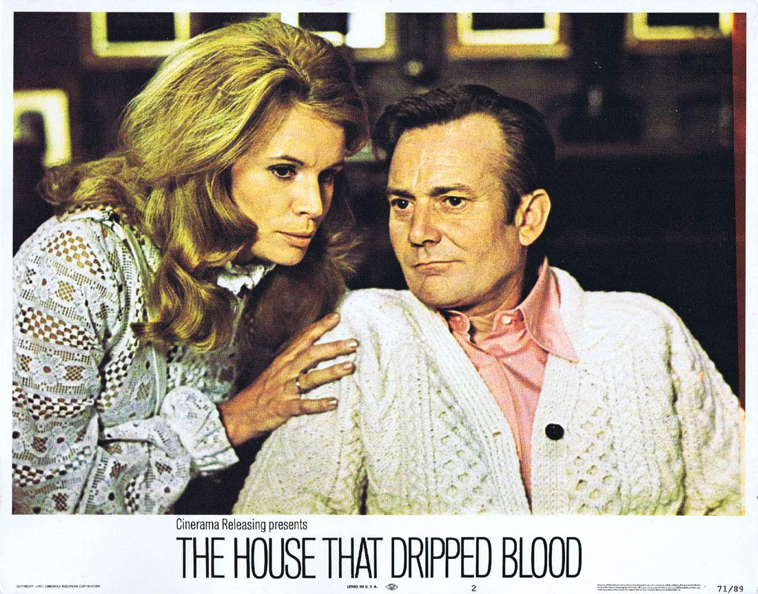 THE HOUSE THAT DRIPPED BLOOD Original Lobby card 2 Christopher Lee Peter Cushing