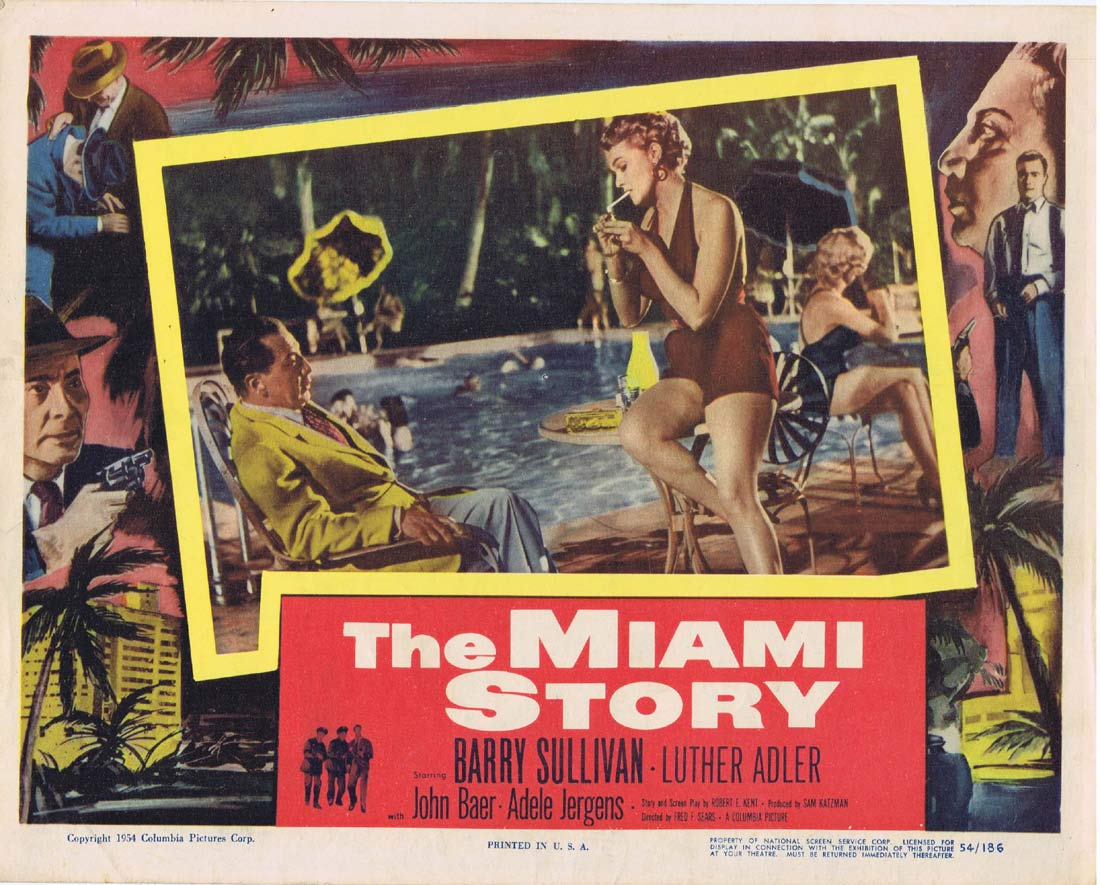 THE MIAMI STORY Original Lobby Card 2 Barry Sullivan Luther Adler
