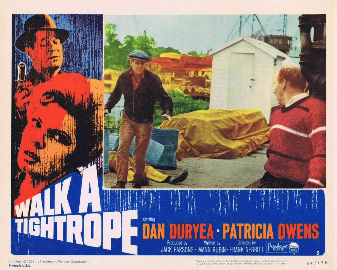 WALK A TIGHTROPE Original Lobby Card 3 Dan Duryea Patricia Owens Terence Cooper